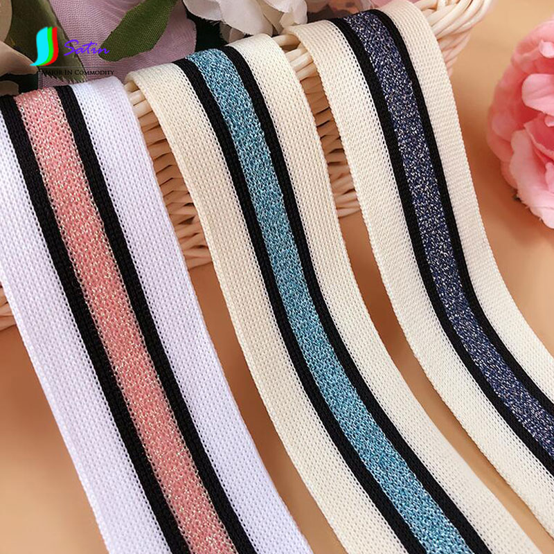 Wholesale DIY Clothing Accessory Decorative Color Hit Color Flash Stripe Style Lace Ribbon 80yards lot Pink