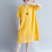 2019 Summer Women Short Sleeve Lace Large size XL 4XL Dress Elegant Cotton O Neck A Line Dress yellow Casual Loose dress women's
