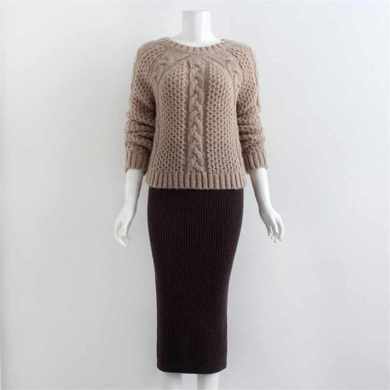 Fashion Winter Knitted Two Piece Set Handmade Crochet Elastic Sweater And Long  Package Hip Skirt Sets 52184d87025a