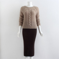 Fashion Winter Knitted Two Piece Set Handmade Crochet Elastic Sweater And Long Package Hip Skirt Sets Autumn Suits For Women