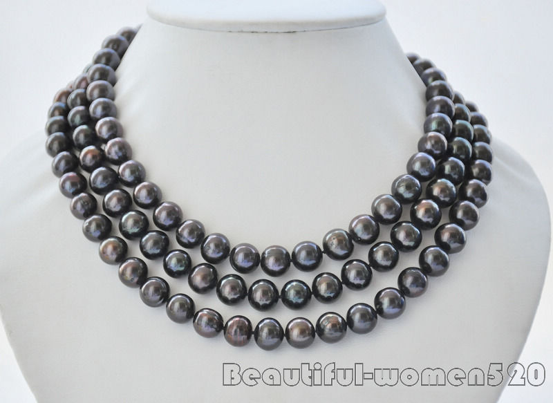 Z6982 11mm ROUND BLACK Freshwater cultured PEARL NECKLACE Standard silveZ6982 11mm ROUND BLACK Freshwater cultured PEARL NECKLACE Standard silve