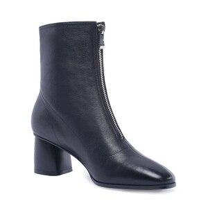 Image 2 - MORAZORA حجم كبير 34 42 جديد ماركة الموضة كامل بوط من الجلد الطبيعي حذاء نسائي بكعب عالٍ السيدات حذاء من الجلد للنساء أحذية الشتاء