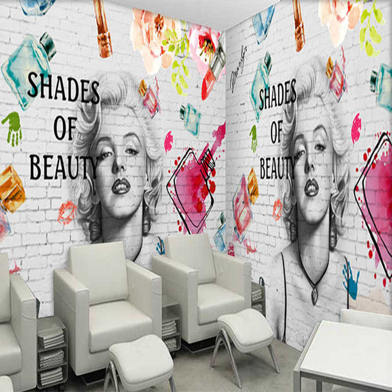 Custom Mural Wallpaper 3D Fashion Brick Wall Cosmetics Painting Fresco Manicure Shop Clothing Store Backdrop 3D Art Wall Papers