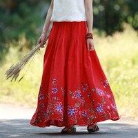 LZJN Hight Elastic Waist Long Skirt Women Summer Embroidery Skirts A Line Vintage Maxi Skirt Big
