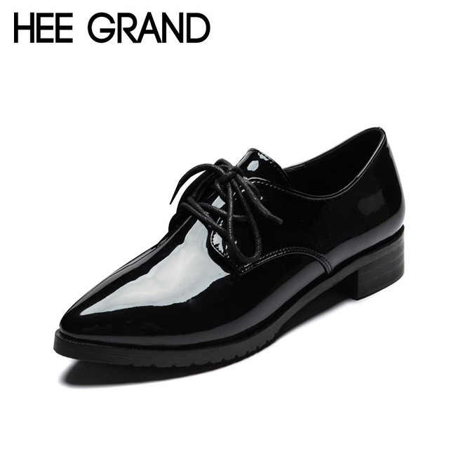 HEE GRAND Patent Leather Women Oxfords Shoes Spring Pointed Toe Platform Flats Low Heels Casual Brogue Shoes Woman XWD2673