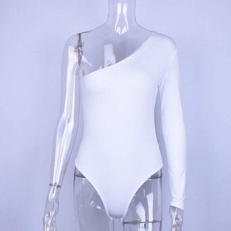 Hugcitar Cotton One Shoulder Slope Neckline Bodysuit Single Long Sleeve Bodyocn Bodysuit Summer Women Sexy Body #6