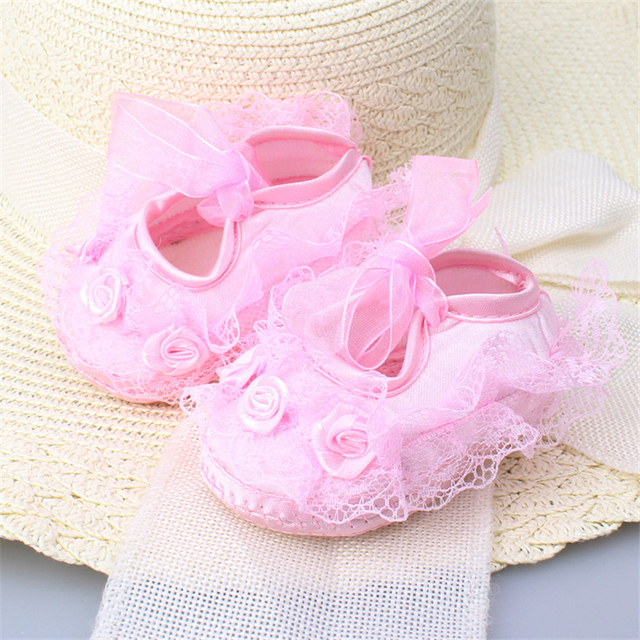Newborn Baby Girl Shoes Princess Party Lace Floral Soft Sole Crib Shoes Anti-slip Sneaker Prewalker Toddler Kid 0-12M 1