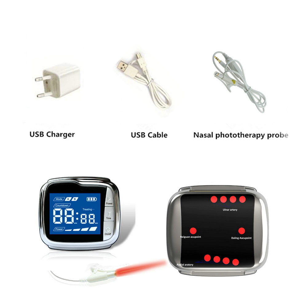 Oferta de fábrica de equipamentos médicos Diabetes 650nm laser terapia soft laser relógio