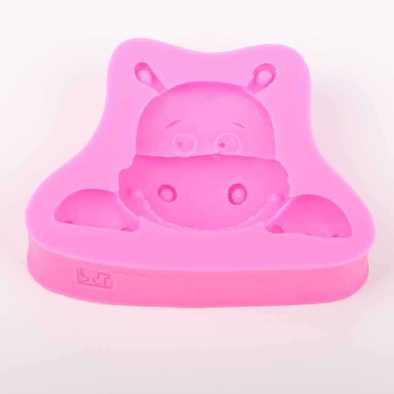 3D Reverse sugar molding Hippo appear Food Grade silicone mould for kitchen polymer clay moulds cake decorating tools FT-0495