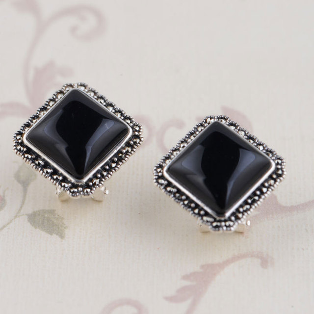 Natural Black Agate Stud Earring 925 Sterling Silver Earrings for Women S925 Silver boucle d'oreille