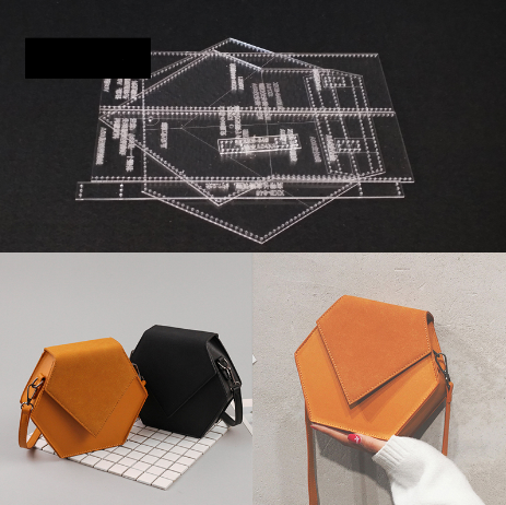 Acrylic Mold Template DIY Leather Handmade Craft Ladies Zipper Ladies Bag Leather BOX Sewing Pattern