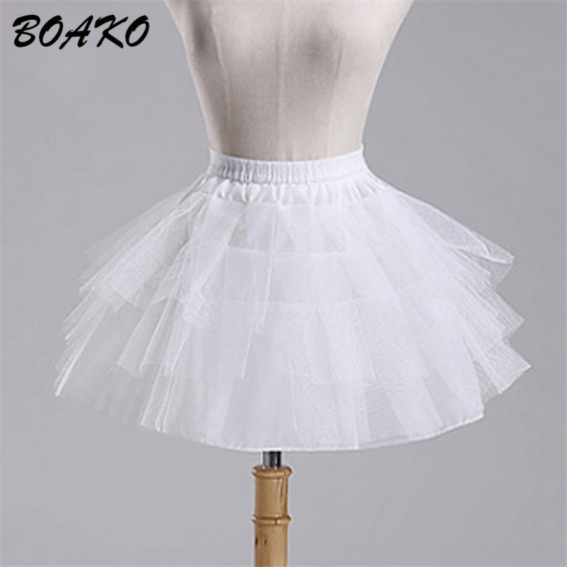 BOAKO White Short Girls Wedding Petticoats Tulle Ruffle Short Crinoline Bridal Petticoats Lady Girls Child Underskirt Jupon 2019