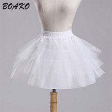 BOAKO White Short Girls Wedding Petticoats Tulle Ruffle Crinoline Bridal Lady Child Underskirt Jupon 2019