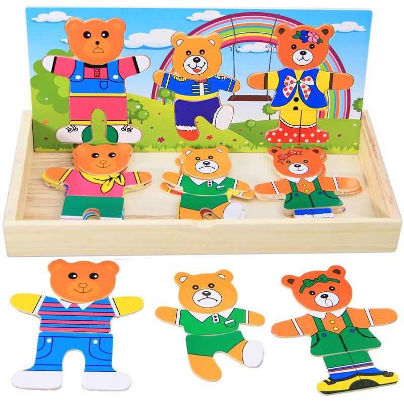 Детские развивающие Игрушечные лошадки деревянные головоломки Милые Носки с рисунком медведя из мультика Семейное платье изменение/Туале...