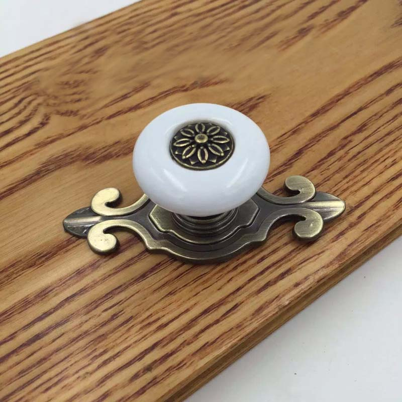 Ceramic Kitchen Cabinet Handles Drawer Pull Knobs Antique: Antique Bronze Base White Ceramic Drawer Knob Cupboard