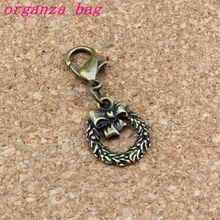 150Pcs /lots Antique bronze Christmas wreath Charm Bead with Lobster clasp Fit Bracelet Jewelry DIY 12x30mm A-291b