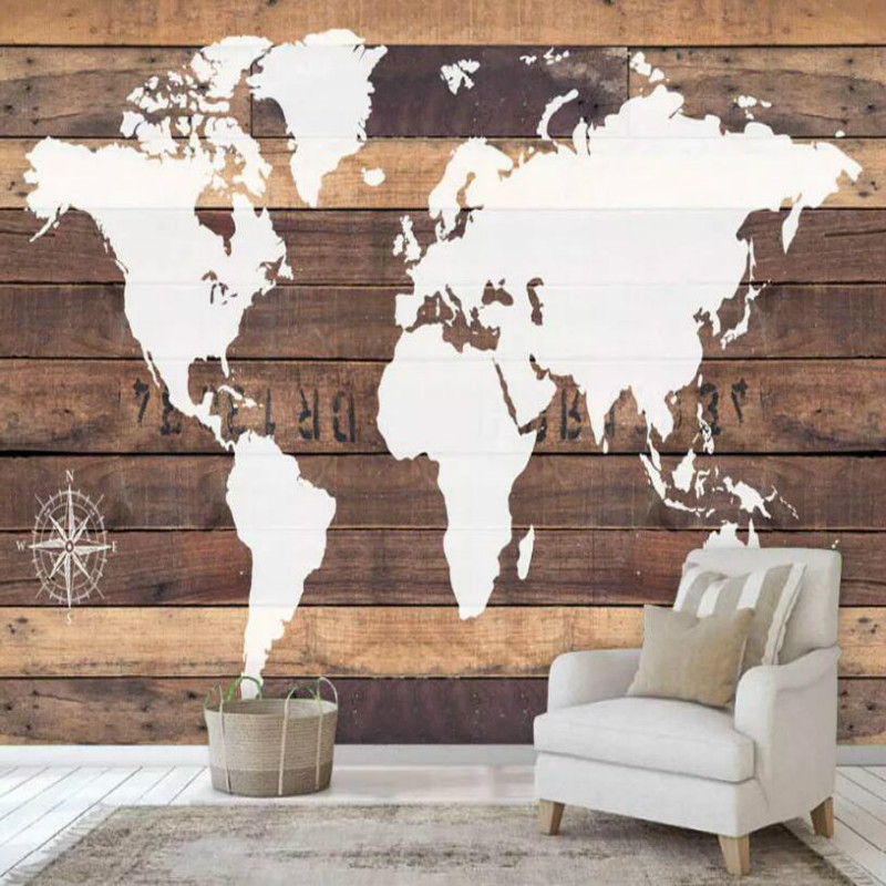 Nostalgic wooden board world map Wall Wallpaper Custom 3d Wall Paper for Bar coffee shop Decorative Painting 3d Wallpaper Muarl world map wall sticker