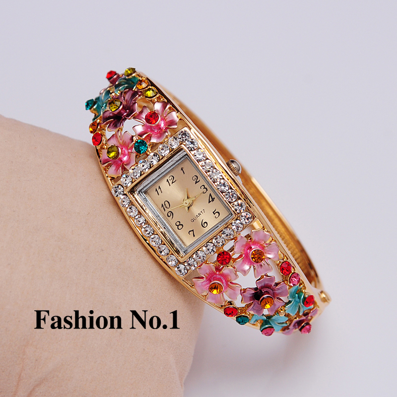 Wristwatches 5 Colors Women Dress Watches Flower  Gold Plated Rhinestone Quartz Bracelet Bangle Watches Free Shipping