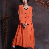 Mori Girl National Ethnic style loose cotton linen dress,long sleeve elegant big hem dress wholesale AM040