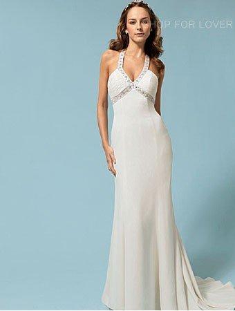 elegant style slim A-Line beach white wedding dress|wedding gown|bridal dress|bridal gown| accept