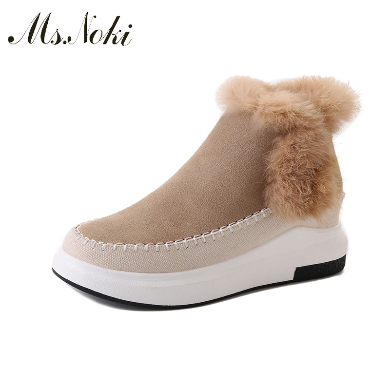 Ms. Noki Women New fashion fur female warm ankle boots women boots snow boots and autumn winter women shoes Platform ms noki fur women winter metal star platform female slip on ankle boots warm snow boots ladies flock shoes woman botas size hot