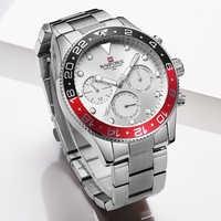 NAVIFROCE ใหม่นาฬิกาผู้ชายกีฬานาฬิกาข้อมือทหารนาฬิกาแฟชั่นผู้ชายสแตนเลสสตีลควอตซ์วันที่ 24 ชั่วโมง Analog นาฬิกาชาย