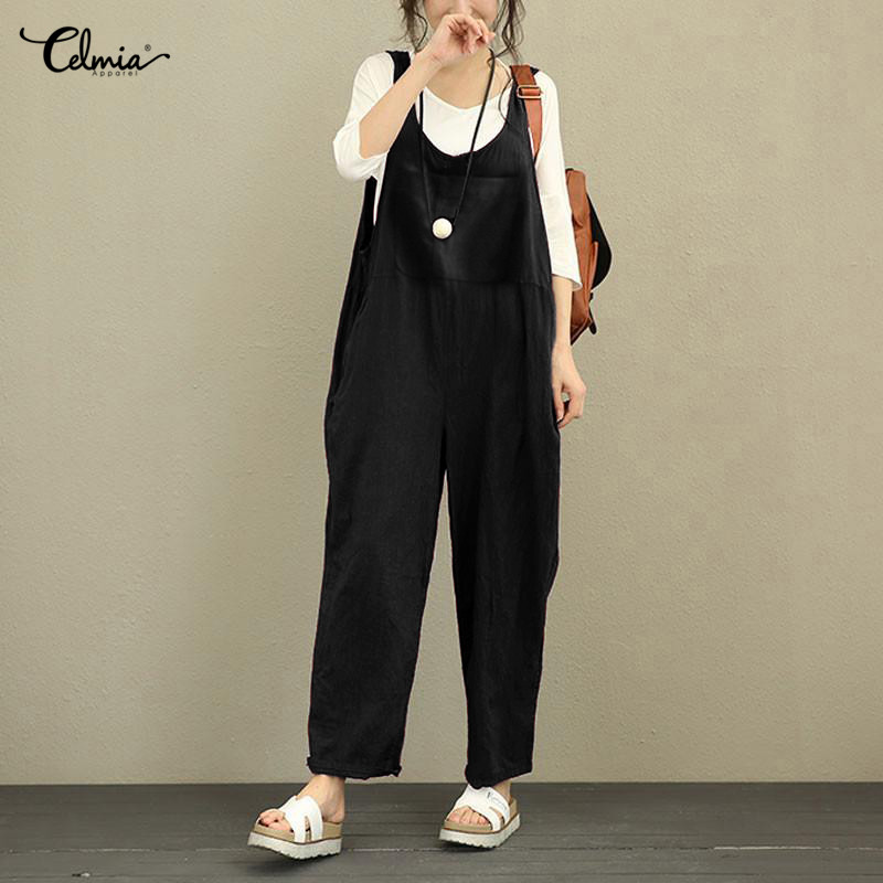 Celmia Vintage Linen Romper Women Jumpsuit Summer Sleeveless Backless Solid Pockets Casual Loose Playsuits Plus Size Overall 4XL