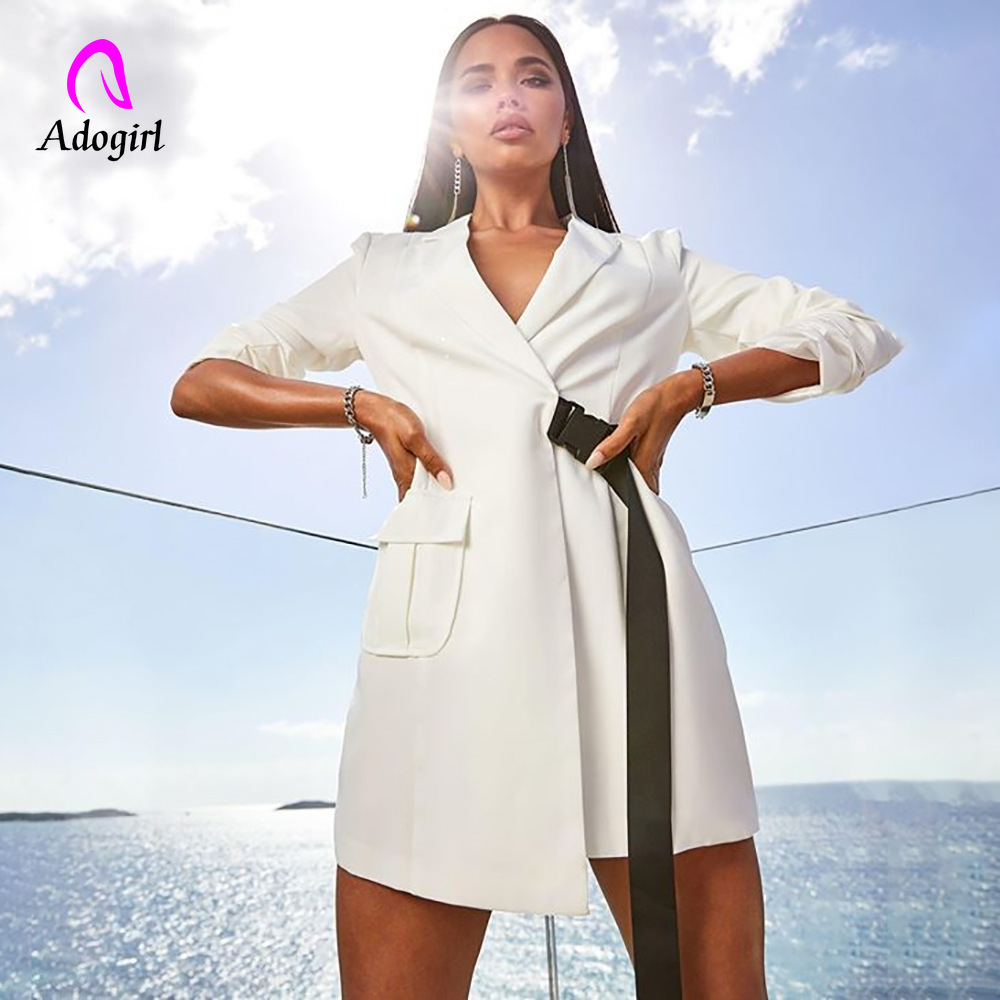 Adogirl Ladies Elegant Notched Collar OL Bandage Long Blazer Women Long Sleeved Slim Jacket Coat Outfits 2019 Autumn New Blazer