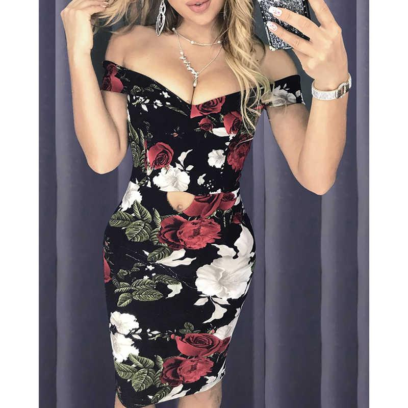 Сексуальное женское летнее платье без рукавов с открытыми плечами, вечернее платье для вечеринки, Клубная одежда с цветочным рисунком, женское обтягивающее платье-карандаш
