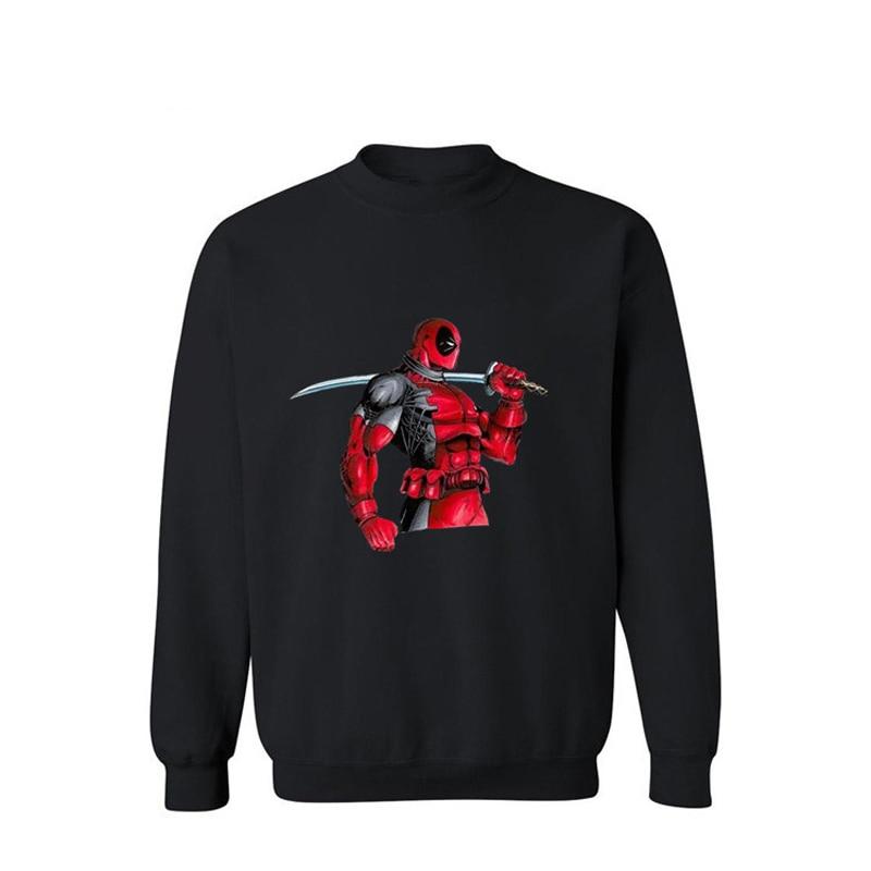 AikookiFashion with Dead Pool Black Anime Cotton Sweatshirt Men Hoodies Creative Novelty Cartoon Streetwear Design Sweatshirt