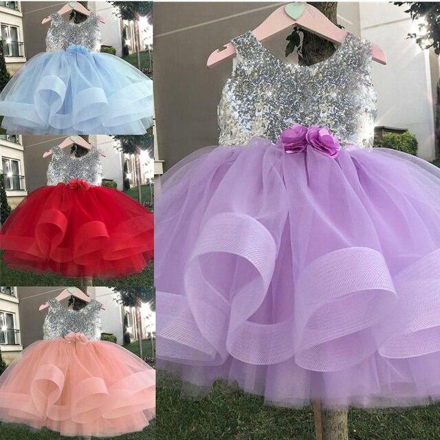 Сарафаны для девочек 2019 Новая летняя одежда принцессы для девочек с бантом и блестками без рукавов с открытой спиной Вечерние Платье для девочек одежда От 1 до 5 лет