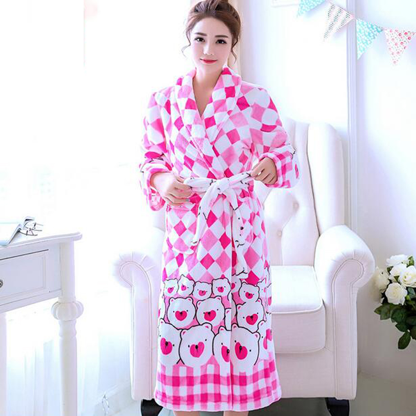 2018 Winter Women\'s Bathrobes Cotton Flannel Bath Robe Female Sleep ...