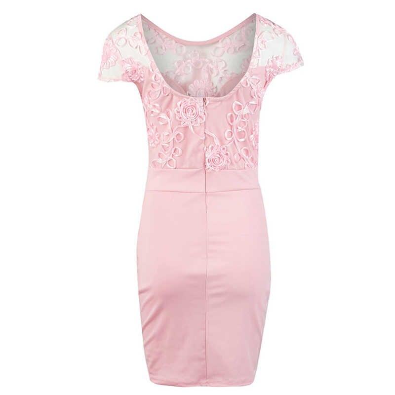 Женское облегающее платье с кружевным декором, Прозрачное платье с коротким рукавом и круглым вырезом, однотонное мини-платье на молнии, Дамское летнее праздничное платье
