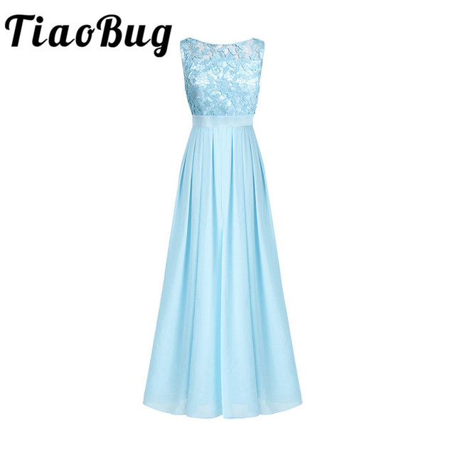 TiaoBug 2017 Lace Women Ladies Sleveless Embroidered Chiffon Bridesmaid Dress Long Party Pageant Wedding Formal Summer Dress