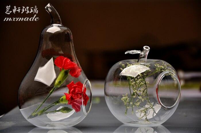 Terrarium Tabletop Apple Pear Glass Flower Vase Gift Vase Christmas Flower  Vase Pots Plant Vaso Candlestick