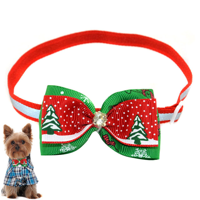 2017ing Christmas Pet Bowtie Ribbon Dogs Cats Adjule Bow Tie Handmade Bowknot Necktie Collar Tb