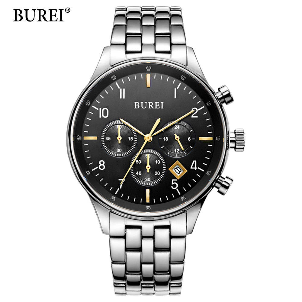 BUREI Top Brand Fashion Leisure And Business Men Watch Sports Watches Multifunction Treadmill Wirst Quartz Watch Waterproof 30M xs809w refit models xs809 shark foldable selfie rc drone with camera altitude hold fpv quadcopter wifi app control rc helicopter