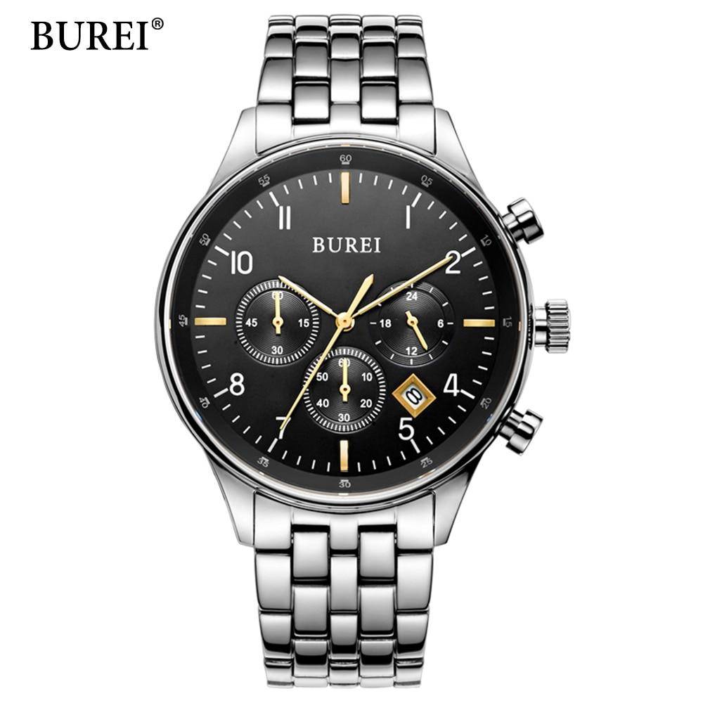 BUREI Top Brand Fashion Leisure And Business Men Watch Sports Watches Multifunction Treadmill Wirst Quartz Watch Waterproof 30M 130w 19 5v 6 7a 7 4 5 0mm replacement for dell xps 14 l401x 15 l501x l502x 17 l701x l702x m170 m2010 ac charger power adapter