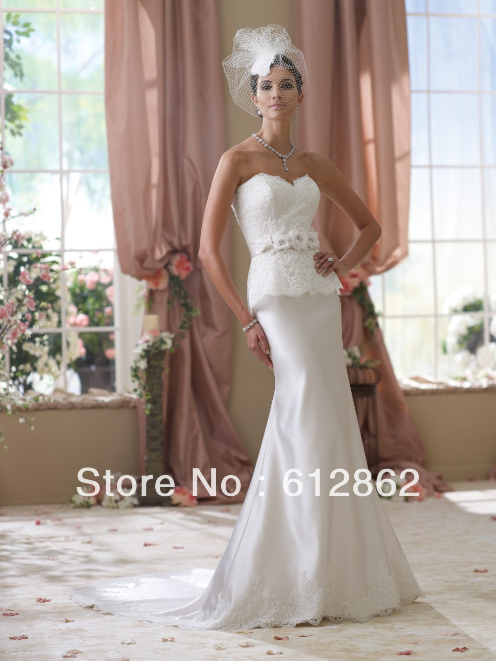 Strapless Sheath Long Tran Lace Appliques Bodice Satin Skirt Wedding ...