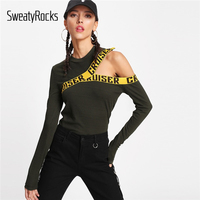 SweatyRocks Letter Print Asymmetrical Shoulder Tee 2018 Army Green Cut Out Round Neck Woman Top Long
