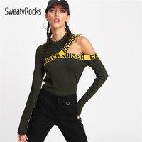 SweatyRocks Brief Druck Asymmetrische Schulter T 2018 Armee Grün Cut Out Rundhals Frau Top Langarm Slim Fit T hemd