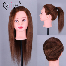 Top Quality Hairdressing Training Heads 100% Human Hair 18 Mannequin Head With Long Of Hair, Practice