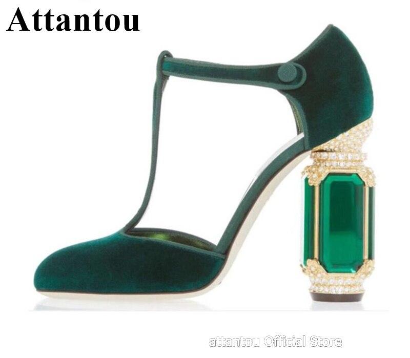 Vert noir velours bloc talon talons hauts femmes chaussures de mariage rétro strass diamant bijou décor talon t-strap pompes de fête