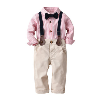 Baby Boy Clothes Kids Clothing Boy Striped Bow Shirts with Cotton Overalls Autumn 2019 Children fashion Casual Outfits Baby Sets