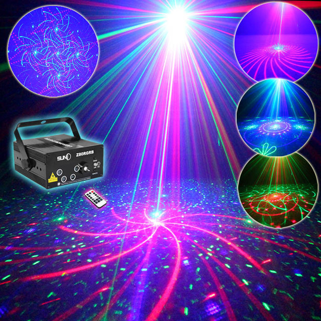 SUNY RGB DJ Lights 4 Lens Red Green Blue Mixed Gobo Patterns Laser LED Z80RGRB Show Professional Light Xmas Holiday Event Show