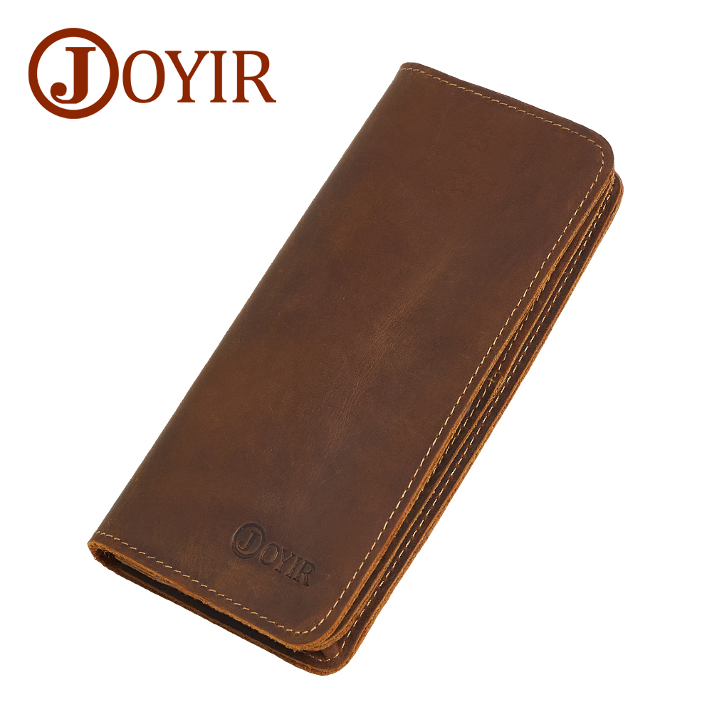 JOYIR Men Genuine Leather Wallet Men Wallets Card Holder Vintage Long Male Clutch Coin Purse Portomonee Carteira Hombre Perse 43 2017 vintage men hunter letters long brown pu leather wallet purse card holder clutch wallets gifts lt88