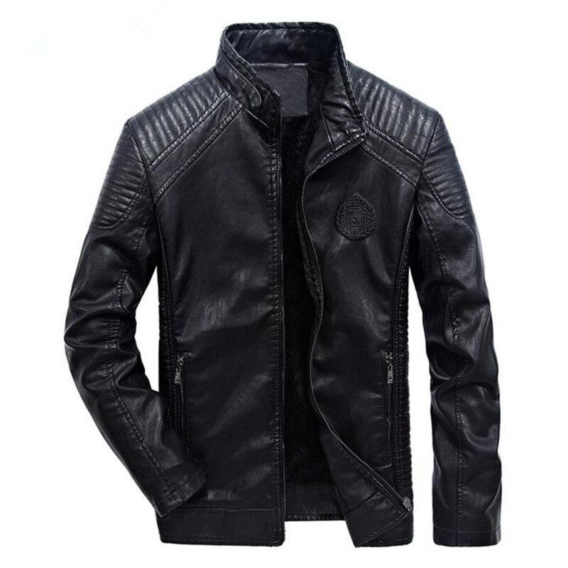 Новая зимняя мужская кожаная куртка пальто Классическая Кожаная Мотоциклетная кожаная куртка одежда для отдыха плюс бархатный воротник-ст...