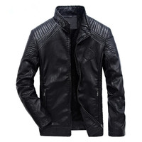 new winter men's leather jacket coat classic leather motorcycle leather jacket leisure clothing Plus velvet Stand collar