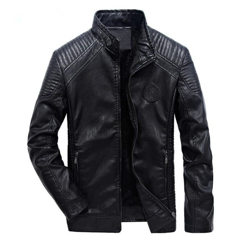New Winter Males's Leather-based Jacket Coat Basic Leather-based Motorbike Leather-based Jacket Leisure Clothes Plus Velvet Stand Collar