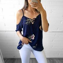 Women Summer Off Shoulder Half Sleeve Spaghetti Strap Cross Bandage Neckline Backless Printed Shirt Loose Chiffon Floral Blouse